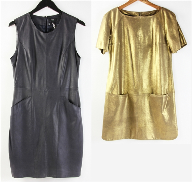 Two Leather Shift Dresses