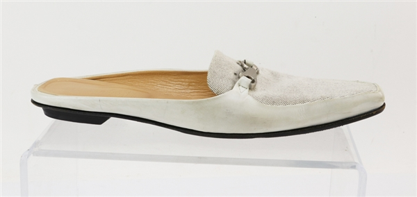 Hermes Off-White Linen and Leather Slides