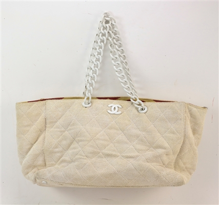 Chanel Ivory Fabric Tote Bag