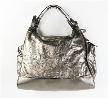 Burberry Metallic Gray Laserout Leather Dust  Bag