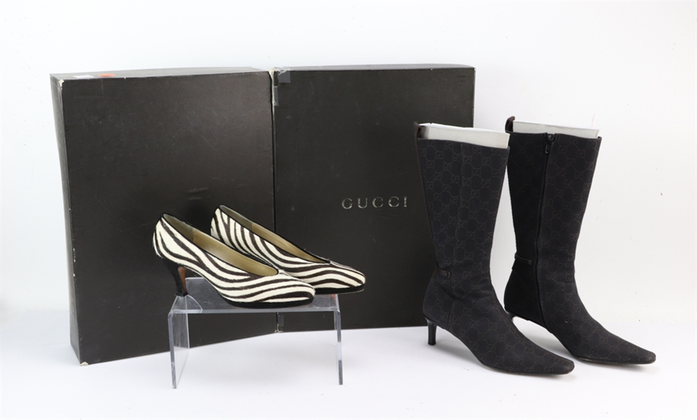 Gucci Fabric Boots and Sesto Meucci Zebra Pumps