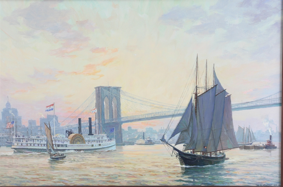 William G. Muller, Brooklyn Bridge, Oil on Canvas