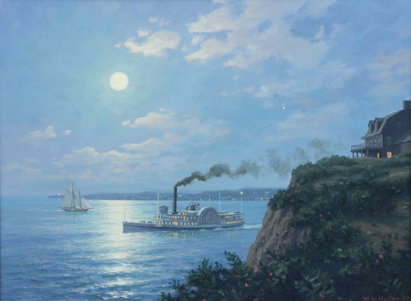 William G. Muller, Paddle Steamer, Oil on Board