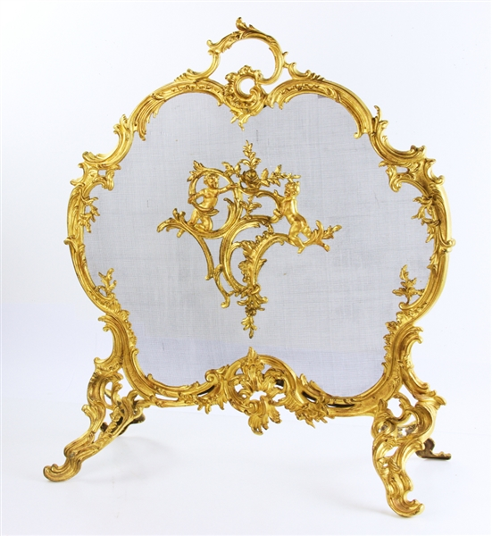 19thC French Bronze Firescreen