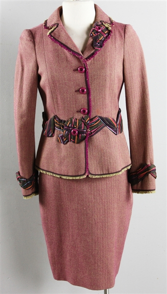 Moschino Cranberry and Tweed Jacket/Suit