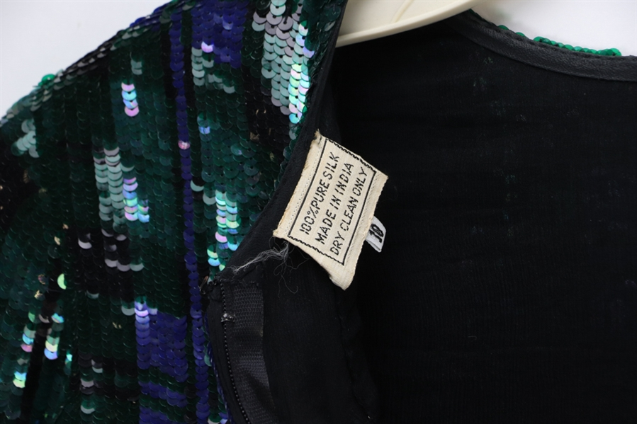 Blue and Green Sequin Jacket with Bows