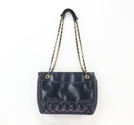 Chanel Navy Quilted Chain Vintage Handbag