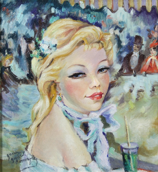 Signed Jean Domergue, Blonde Lady