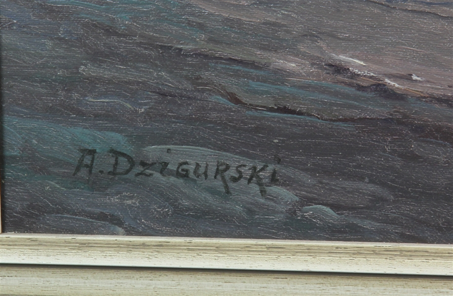 Signed A Dzigurski, Waves, Oil on Canvas