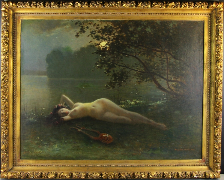 Signed Alexandre Brunet, Barbison School Nude