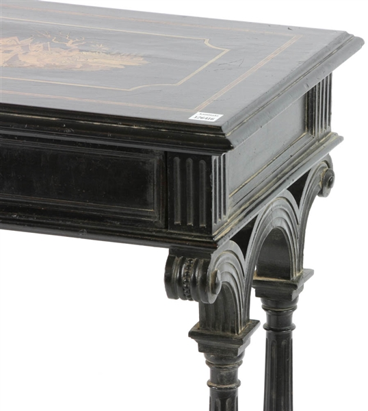 Continental Marquetry Inlaid Lift Top Table