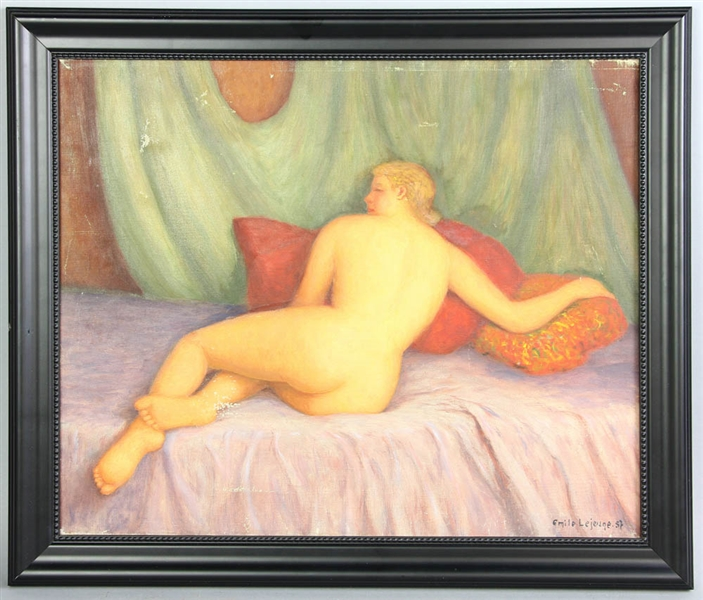 Emile Lejeune, Nude Woman, Oil on Canvas