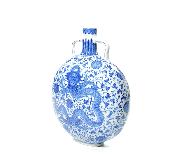 Fine Chinese Blue and White Dragon Moon Flask Vase