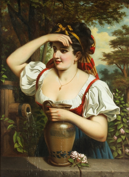 J. Malee Signed, Girl w/ Water Pitcher, Oil on Canvas