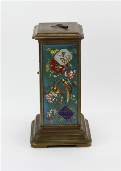 19thC French Enamel and Gilt Decorated Clock