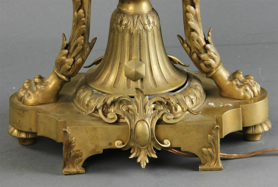 19th C French Bronze and Crystal Table Lamp