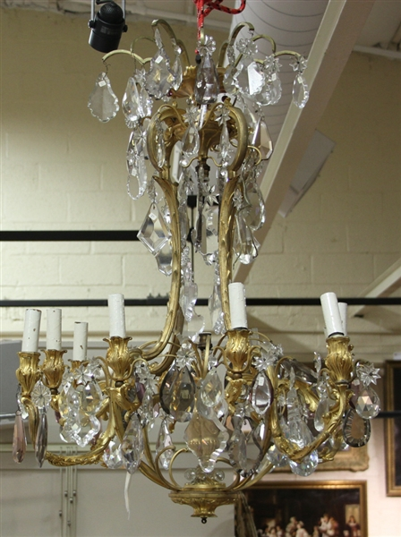 Mid 19thC French Baccarat Bronze Chandelier