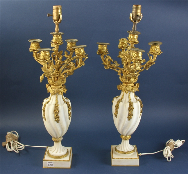 Pair of 19th Century Marble and Bronze Candelabra