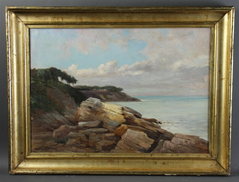 Aldro Hibbard, Rocky Cliffs Along Shoreline, Oil on Canvas