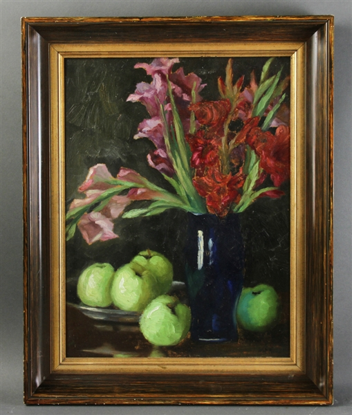 Walt Francis Kuhn, Floral and Fruit Still Life, Oil on Panel