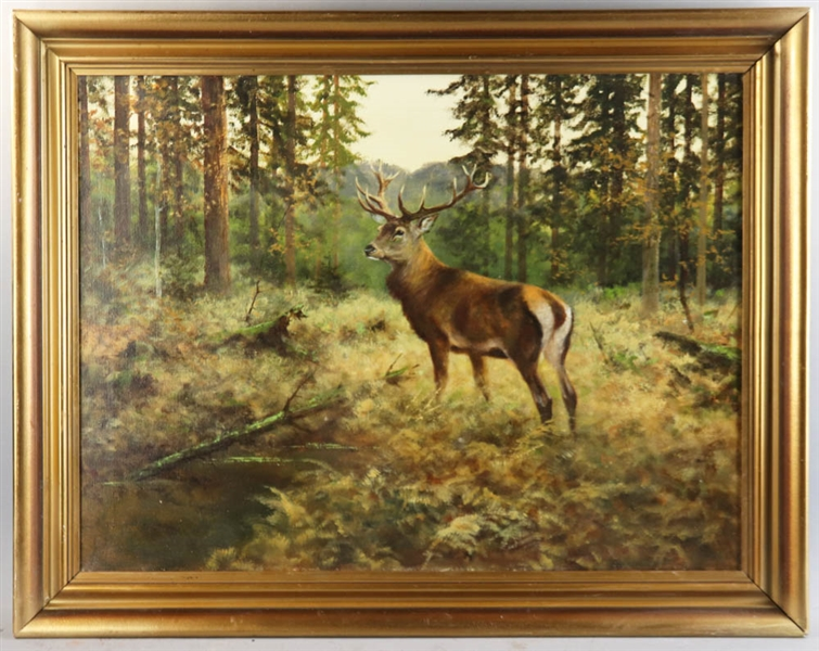 Arthur Tait, Buck in the Woods, Oil on Canvas