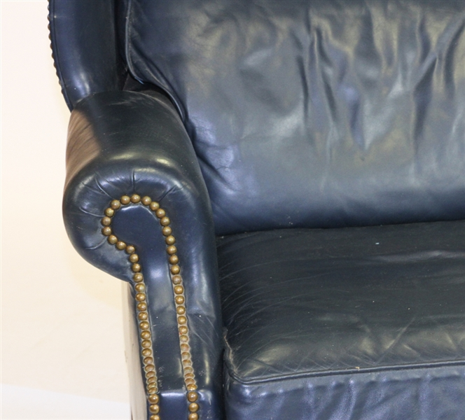 Fine Blue Leather Wing Chair, Hancock Moore