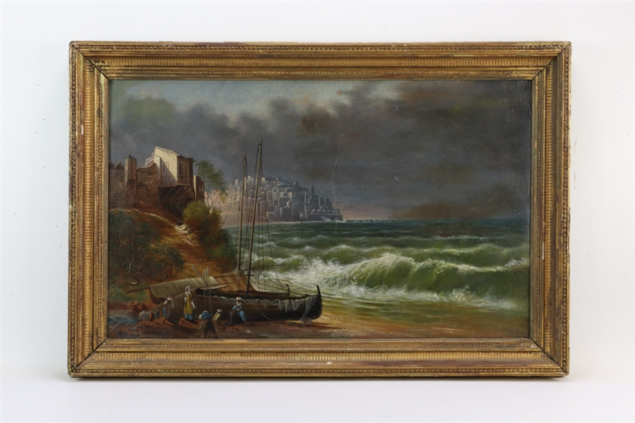 Signed Horr, 19thC Oil on Canvas, Fisherman