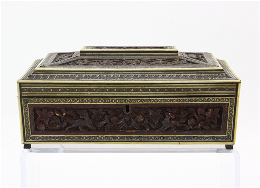 19thC Carved Camphorwood Sewing Box