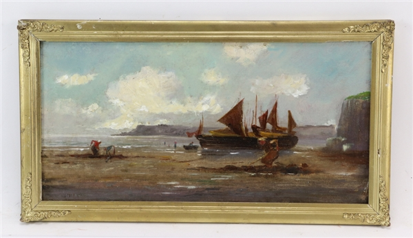 19thC Oil on Canvas of Fishermen Clamming