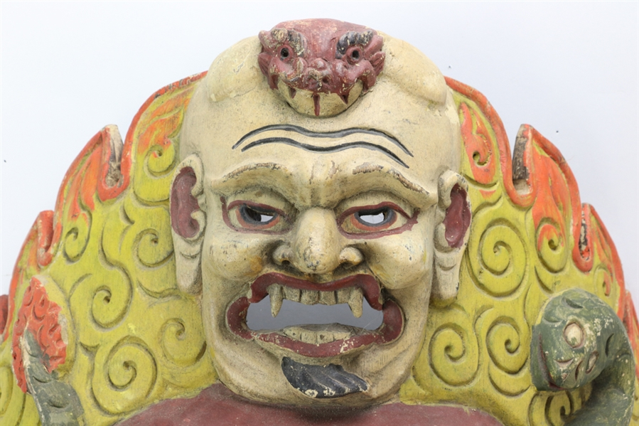 Chinese Carved and Painted Wood Mask