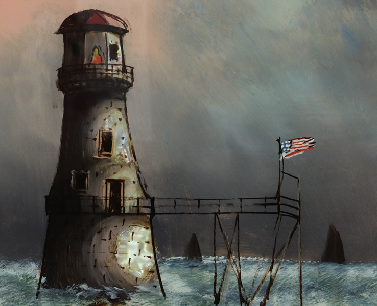 American Lighthouse Reverse Painting on Glass