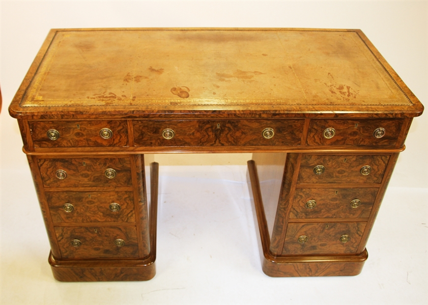 19thC English Burlwood Kneehole Desk