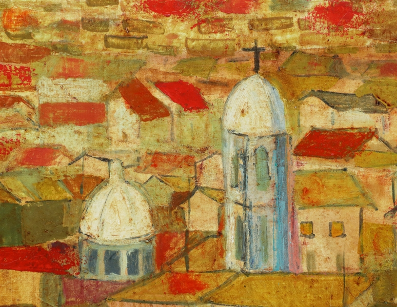 Moises Barrientos, Red Rooftops, Oil on Canvas