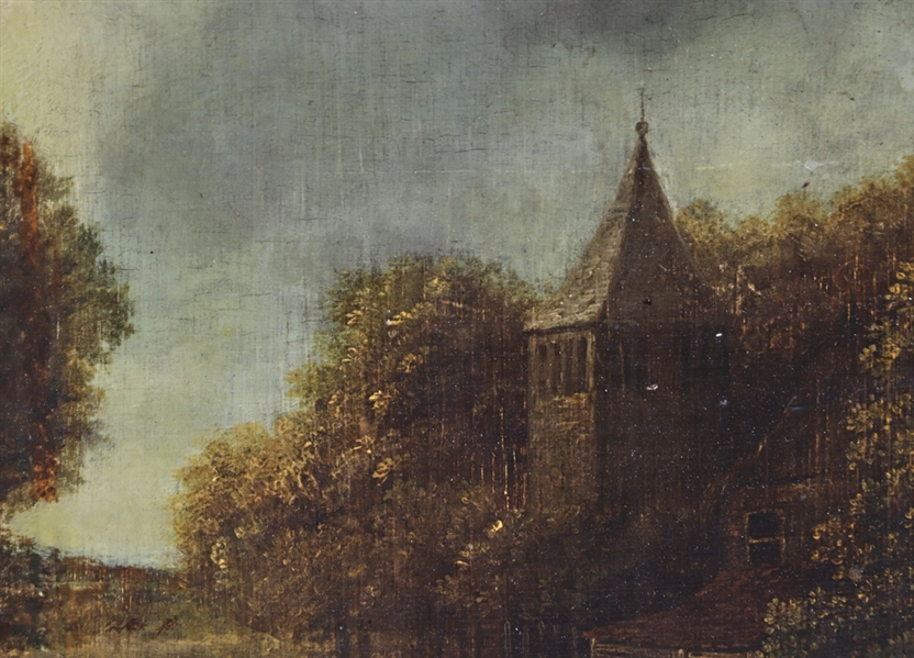 18thC Dutch Old Master, Village Scene, Oil on Panel