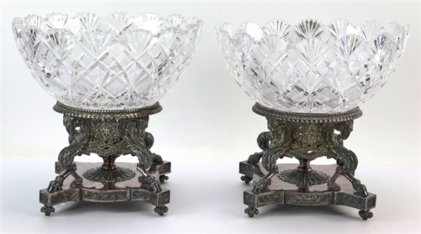 Pair of Cut Glass Bowls on Silver Plated Stands
