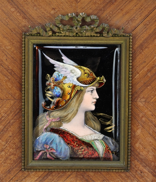 French Enameled Portrait of Young Woman