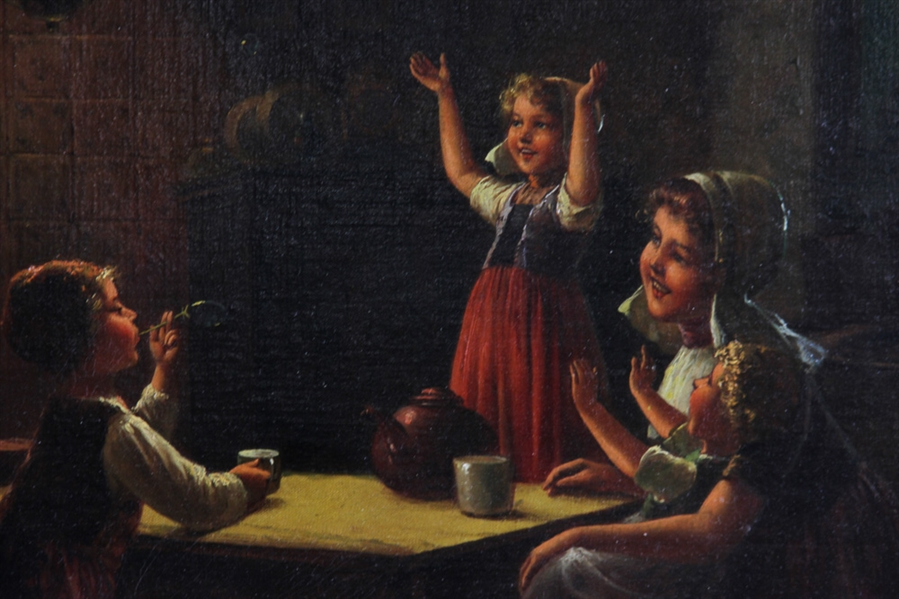 Fritz Fig, Children Playing Interior, Oil on Canvas