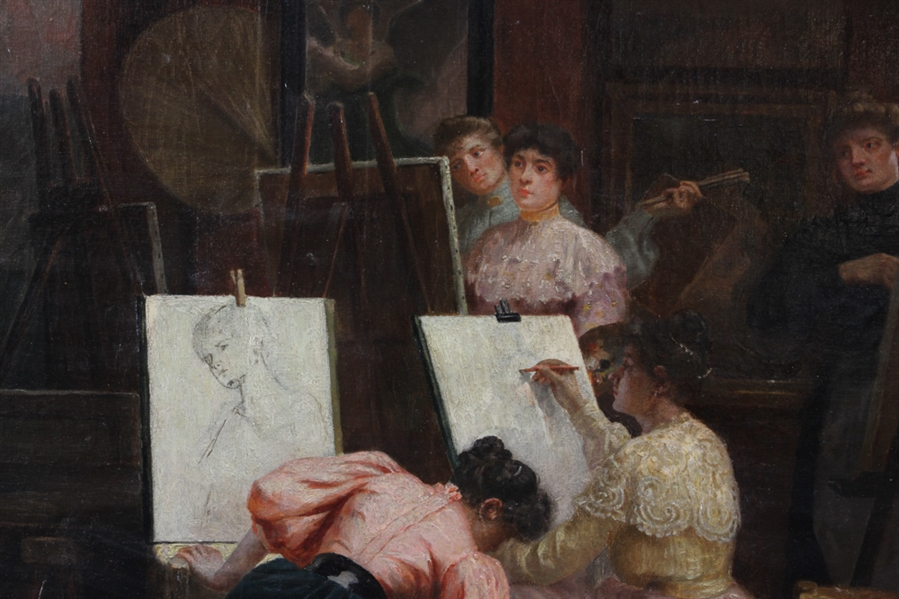 Albert Edouard, Art Students, Oil on Canvas