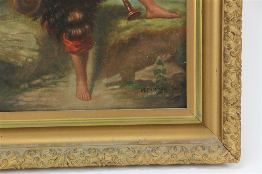 Petriconeli, Boy Playing Flute, Oil on Canvas