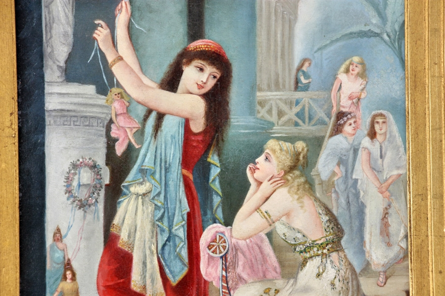 19thC French, Girls Dancing in Castle, Oil on Canvas