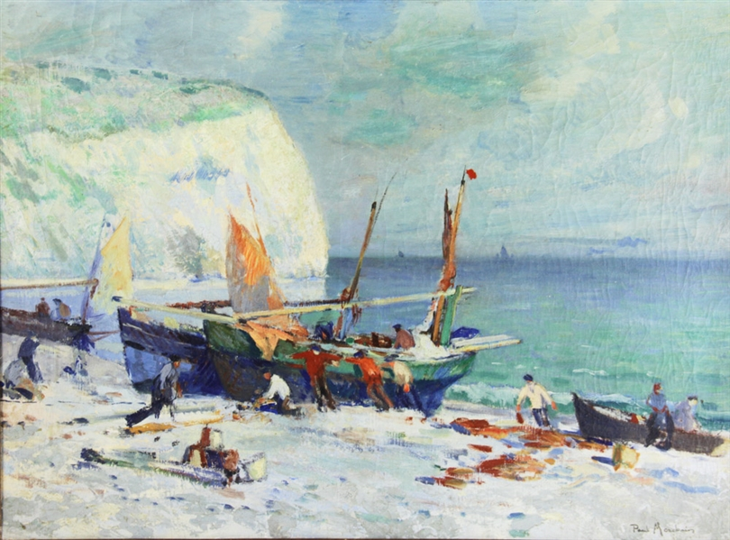 Paul Morchain, Fisherman on the Shore, Oil on Canvas