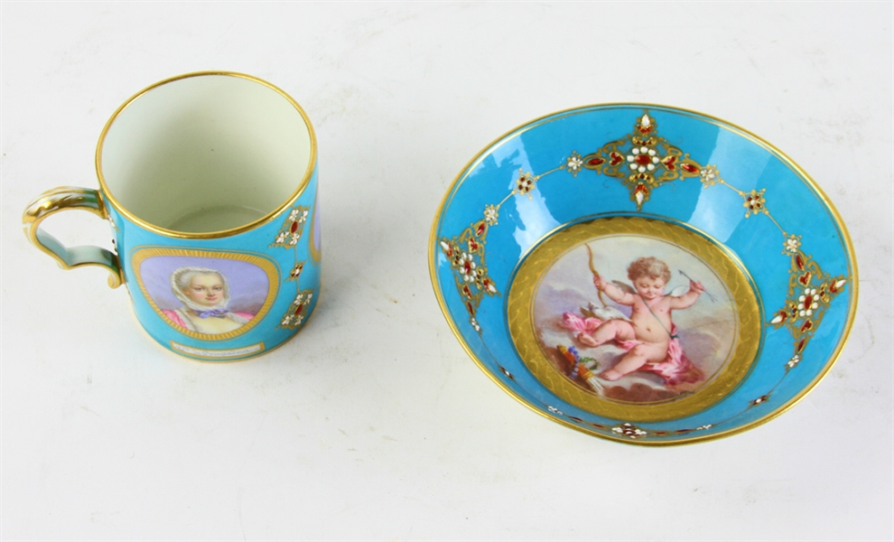 19thC French Hand Painted Sevres Cup and Saucer