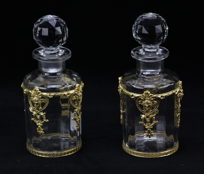 Pair of 19th C French Boudoir Bottles