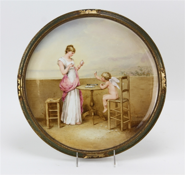 Royal Vienna Hand Painted Porcelain Wall Plaque