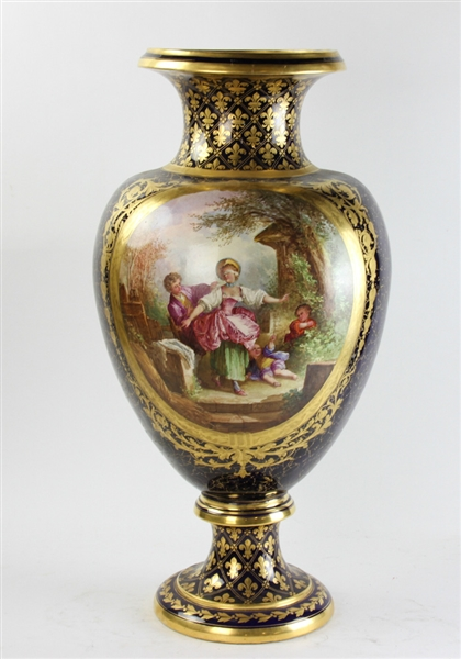19thC French Sevres Hand Painted Decorated Urn