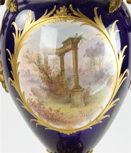 19thC French Sevres Hand Painted Cobalt Blue  Urn