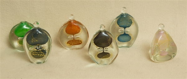 (6) French Art Glass Perfume Bottles