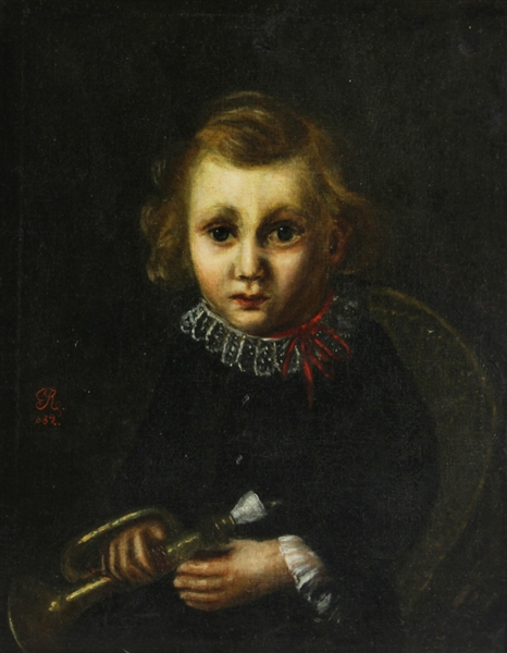 English Portrait of Child, Oil on Canvas