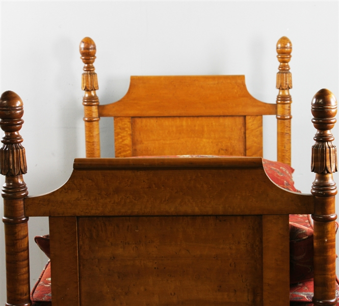 American Birdseye and Carved Tiger Maple Daybed