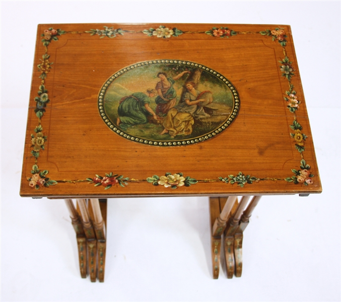 Edwardian Hand Painted Nest of Tables